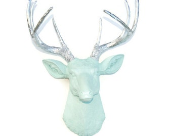 Sea Foam Green Faux Deer Head With Chrome Antlers - Taxidermy Wall Mount D5113