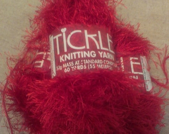3 Skeins of  Crimson  Tickle Knitting Yarn  Eyelash Yarn