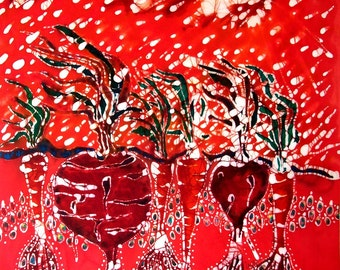 Blowing Rain on Garden -- Summer heat - farm art  -  original batik painting