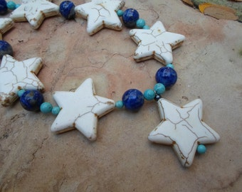 Handmade White  Star Howlite Necklace with Lapis and Turquoise