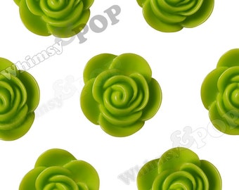 20mm - Large Apple Green Begonia Cabochons, Flower Cabochons, Flower Resin Flatbacks, Flower Embellishments, 20mm (R7-054)
