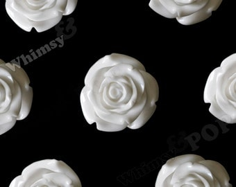 XLarge White Flower Cabochons/Beads, Rose Beads, Flower Beads, Chunky Flower Beads, 34mm x 21mm (R5-052)