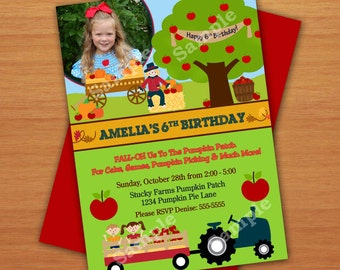 Personalized Fall Festival Apple Picking Orchard Party or Birthday Photo Invitation DIY
