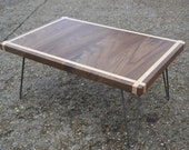 Coffee Table - Solid Walnut With Maple Inlay - Hairpin Legs