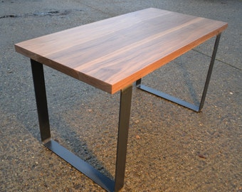 Large Walnut Dining Table - Industrial Steel Base