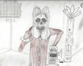 Skeleton playing the Phonograph Player - Original Drawing illustration