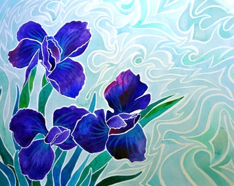 Radiant Irises Print (Psychedelic Spiritual Trippy Paradise Flower Watercolor Painting in Green and Aqua and Blue Violet)
