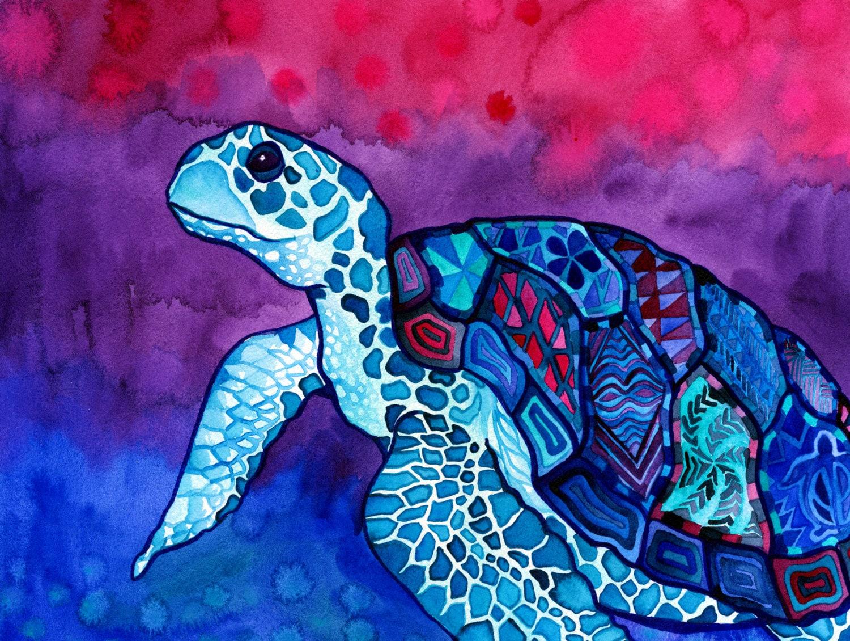 Sea Turtle Print Trippy Colorful Hawaiian by ...