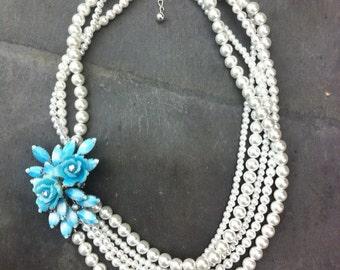 Custom Wedding Jewelry, Custom Bride Jewelry, Pearl Brooch Necklace,  Bride Necklace, Something Blue, Vintage Pearl Necklace, wedding