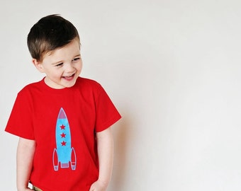 Blue Retro Rocket T-shirt
