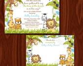 Jungle invitation and thank you card set