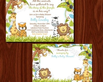 Jungle invitation and thank you card set