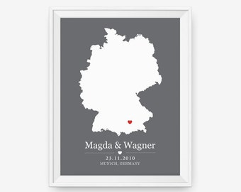 Wedding Gift Personalized Anniversary or Wedding Custom Location Germany Any State or Country 8x10+ Map Print