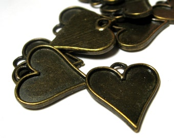 Cabochon Setting or Resin Tray Antique Bronze Heart 21mm NIckel Free 10 pieces