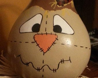Handpainted Scarecrow Gourd