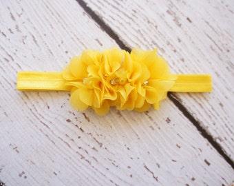 chiffon headband- baby shabby headband- flower headband -yellow flower headband- baby headband- rhinestone headband- girls headband -newborn