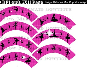 Buy ONE get FOUR FREE Ballerina Collection Mini Cupcake Wrappers Instant Download Set of 7