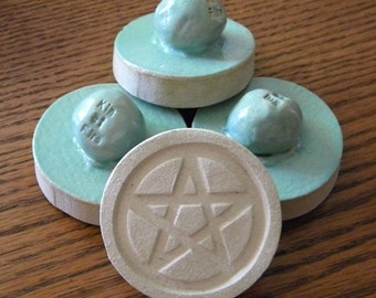 Mint Green - Stoneware Cookie Stampers - Pentacle