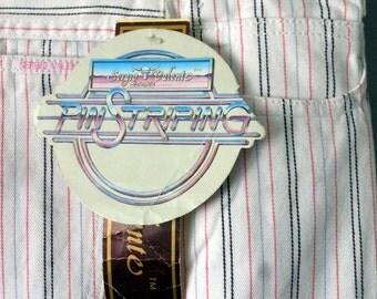 NOS Vintage 80s Sergio Valente Jeans Pin Stripe Pants Skinny Indie Summer MoD NWT Indie Pink Black Blue WHite