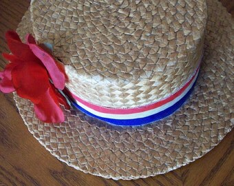 Vintage men's Cosmopolitan NY BOATERS straw hat summer panama hat brand theater costume red white and blue with rose