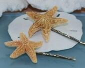 Starfish Hair Pins or Clips Sugar Starfish Bobby Pins Beach Hair Accessories Set of 2 Nautical Wedding Sea Star Pins Beach Fashion