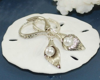 Calla Lily Earrings - Sterling Silver - Bridal Jewelry ~ Swarovski Pearls ~ Bridesmaid Gift ~ Pearl Wedding Jewelry ~ Wedding Gift