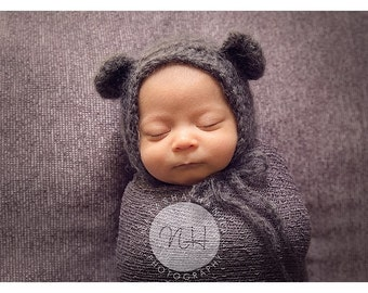 Grey fluffy mohair teddy bear bonnet. Choose your size. Great photo photography prop.
