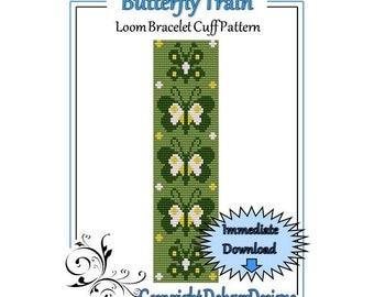 Bead Pattern Loom(Bracelet Cuff)-Butterfly Train