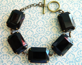Black Jewel Bracelet, Black Bracelet, Art Deco Black Bracelet, Chunky Black Bracelet, Vintage Black Rhinestone Bracelet, Art Deco Jewelry
