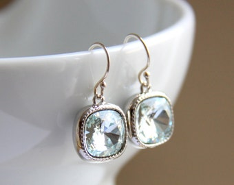 Blue Bridesmaids Earrings with Swarovski Crystals - Bridesmaids Gift