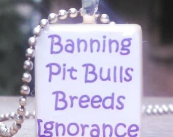 Banning Pit bulls Breeds Ignorance Game Tile Pendant