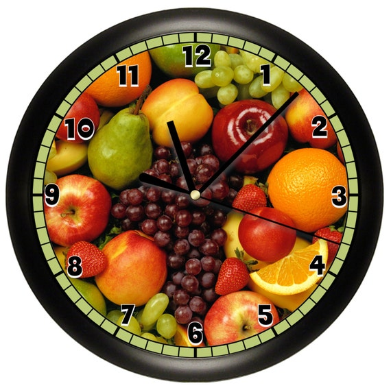 Fruit Wall Clock Kitchen Decor Room Bedroom Wall Art