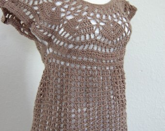 Crochet Tank Top Brown Acrylic/Bamboo Blend size Medium/Large