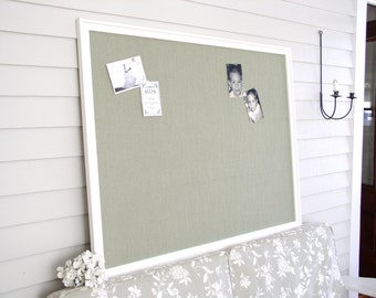 HUGE Executive Office Magnetic Board - 3 ft x 4 ft Bulletin Board Organizer - Oversized Framed Board with Sage Breen Burlap Fabric