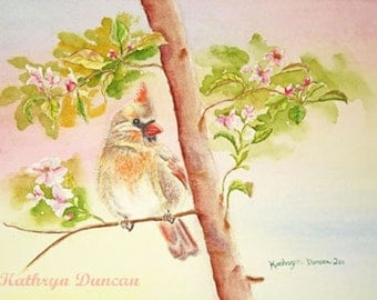 Female Cardinal Bird Original Watercolor Painting, matted to 11x14, Yellow Green Blue