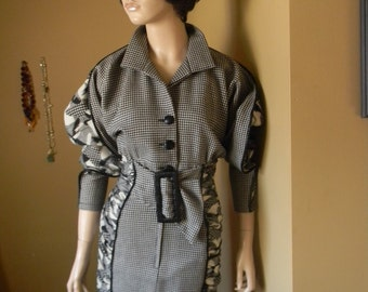 50% off Houndstoothe WIGGLE Dress.Bat wing sleeve .Genuine Leather Trim. CLASSIC couture Dress.1990s couture