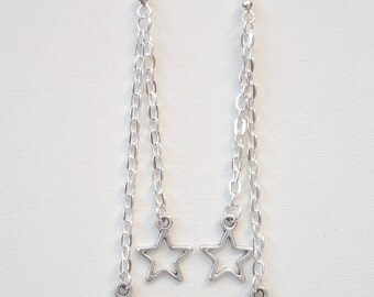 MOON And STAR Silver Plated Double Chain Drop Ear Wire (or clip ons) Dangle Earrings - bm