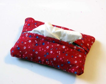 Blue and White Flowers on Red Purse Tissue Cozy Under 5 Dollars Stocking Stuffer