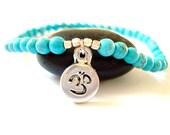 Om Yoga Bracelet, Silver Om Charm,  Turquoise Beaded Yoga Bracelet