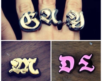 Laser Cut Custom Ring Set (four single finger rings)