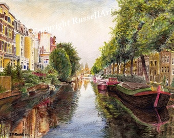 Reflections of  Amsterdam - Watercolor Landscape LARGE A4 A3 or A2 Limited Edition Print of original watercolor painting by RussellArt