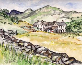 Langdale Pike  - Watercolor Painting Lake District English Countryside Landscape A4 A3 or A2 Limited Edition Art Print from RussellArt