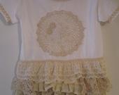 White and Ecru Ivory Ruffled Toddler T-shirt