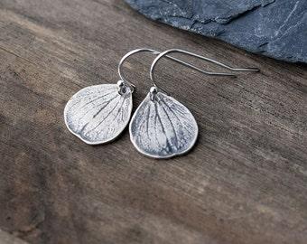 Silver Petal Earrings / Rustic Botanical Jewelry / Small Sterling Silver Earrings