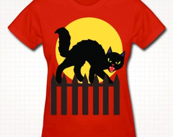 Vintage Halloween Black Cat T-Shirt