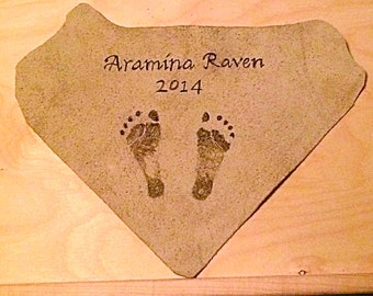 "Custom Baby ""Footprints"" Leather Pyrography Art"
