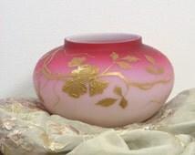 Thomas Webb English Peachblow Satin Cased Glass Vase w/ Gilded Floral Decoration
