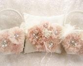 Blush Flower Girl Baskets, Two Hand Dyed Blush Flower Girl Baskets and Ring Pillow, Ring Bearer Pillow,  Flower Girl Basket Set