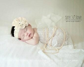 Christening Headband, Baptism  Headband, Baby headband, White, Ivory, lavender and more