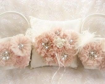 Blush Flower Girl Baskets Ring Bearer Pillow and 2 Flower Girl Baskets Blush and Cream Flower Girl Basket Set Wedding Pillow